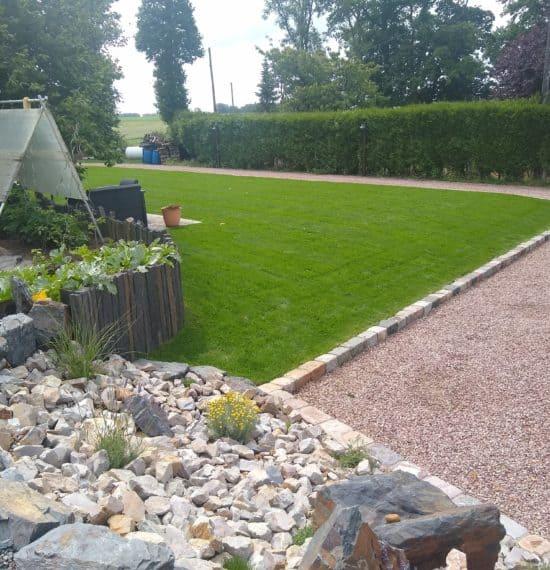 Réalisation d'une pelouse avec du gazon de placage
